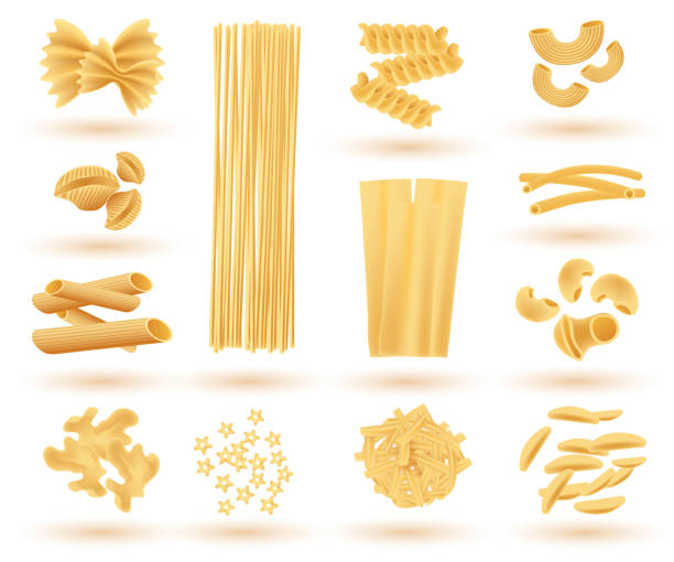 Isolated Set of Italian Pasta. Farfalle, Conchiglie, Linguine, Maccheroni. Isolated Set of Italian Pasta. Farfalle, Conchiglie, Linguine, Maccheroni, Penne, Rigate, Spaghetti, Fusilli and Lasagne. Vector Illustration. conchiglie stock illustrations