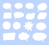 Isolated set of speech bubbles on blue background. Vector flat cartoon graphic design