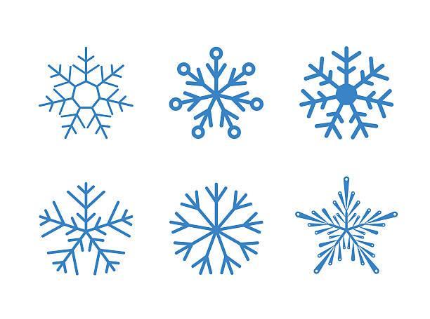 Isolated set of vector snowflakes on white background Isolated set of vector snowflakes on white background. Ready to change colour. ice crystal stock illustrations