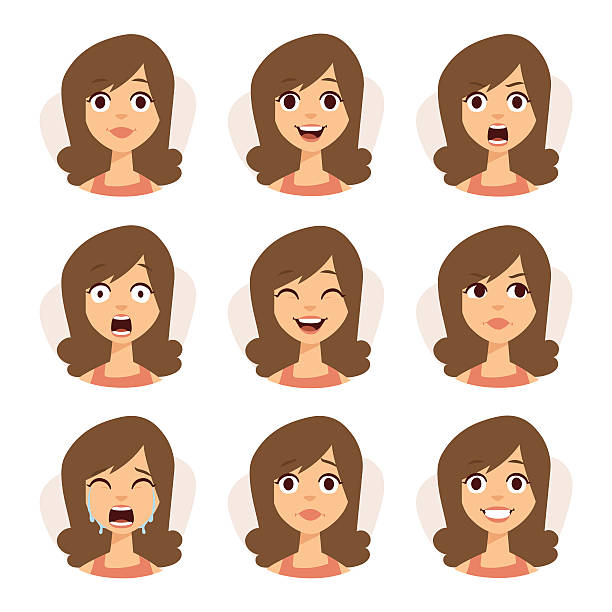isolated set of woman avatar expressions face emotions vector illustration - surprise stock illustrations