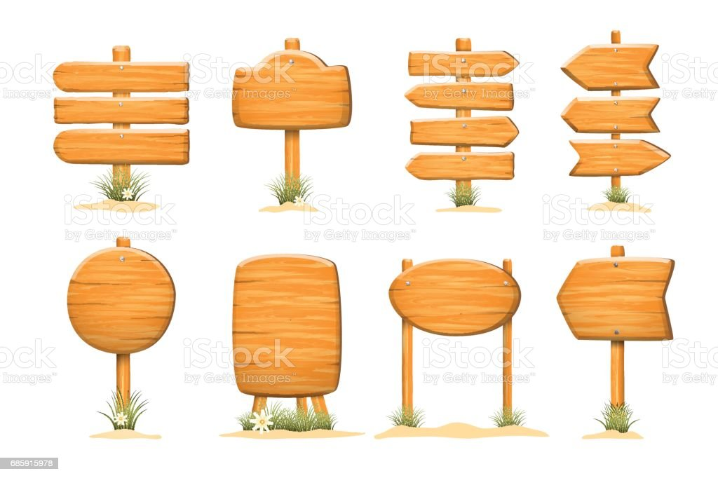 isolated set of wooden sign template boards stock vector art more