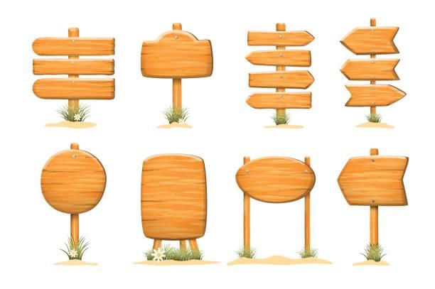 isolated set of wooden sign template boards - nagelplatte stock-grafiken, -clipart, -cartoons und -symbole