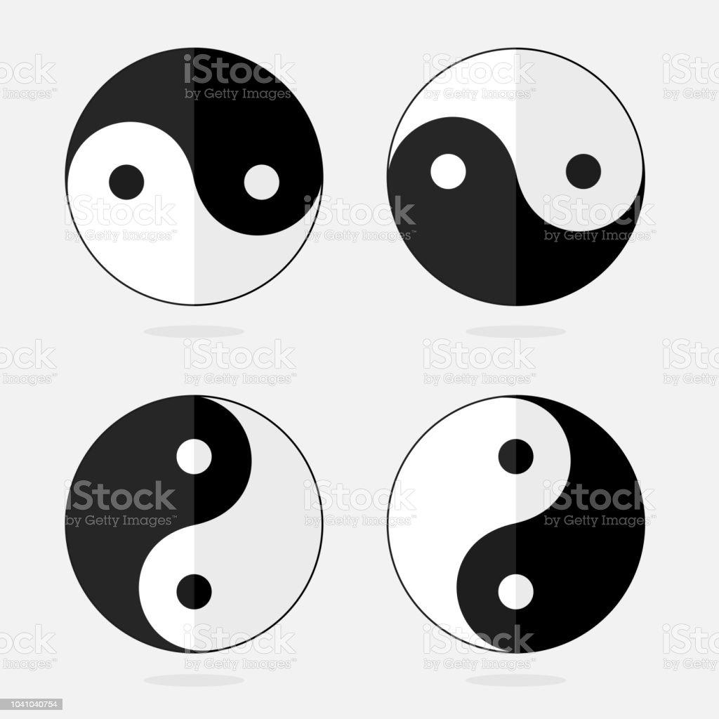 Isolated Set Of Yin Yan Chinese Religious Symbols Paperlike