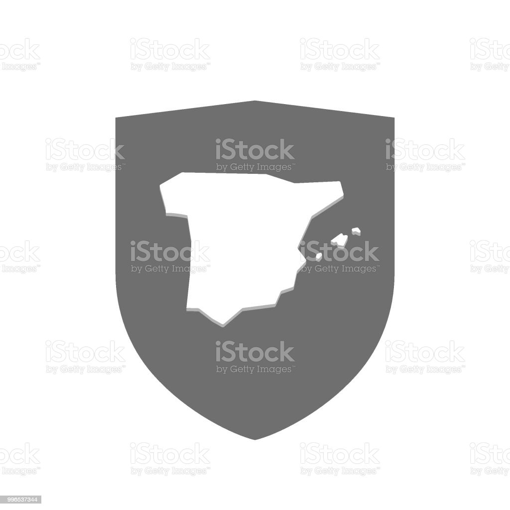 Map Of Spain Vector Free.Isolated Shield With The Map Of Spain Stock Vector Art More Images Of Art