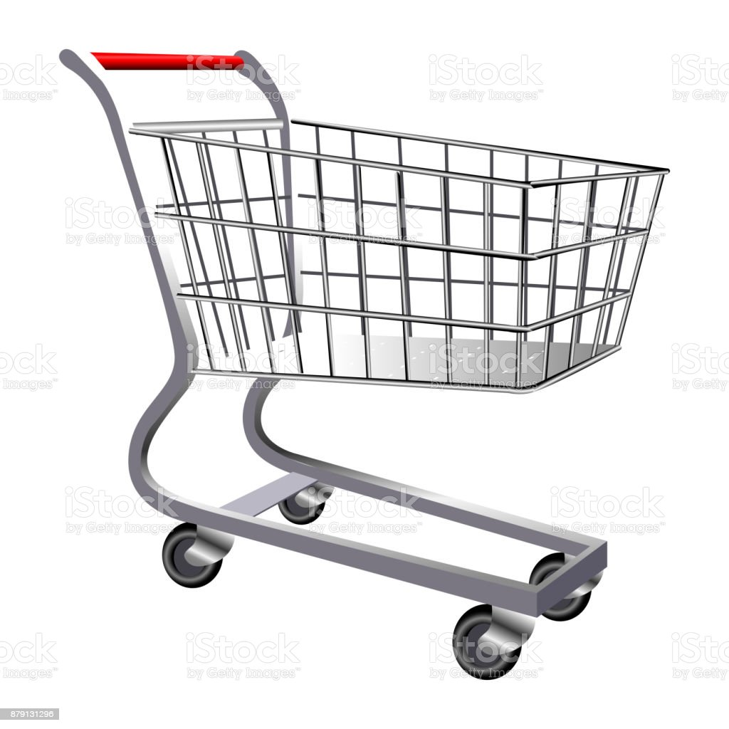 Isolated shopping cart vector art illustration