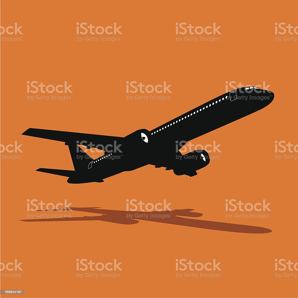 Isolated silhouette of a passenger jet gaining altitude vector art illustration