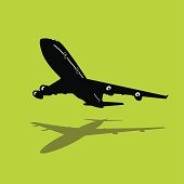 Isolated silhouette of a passenger jet