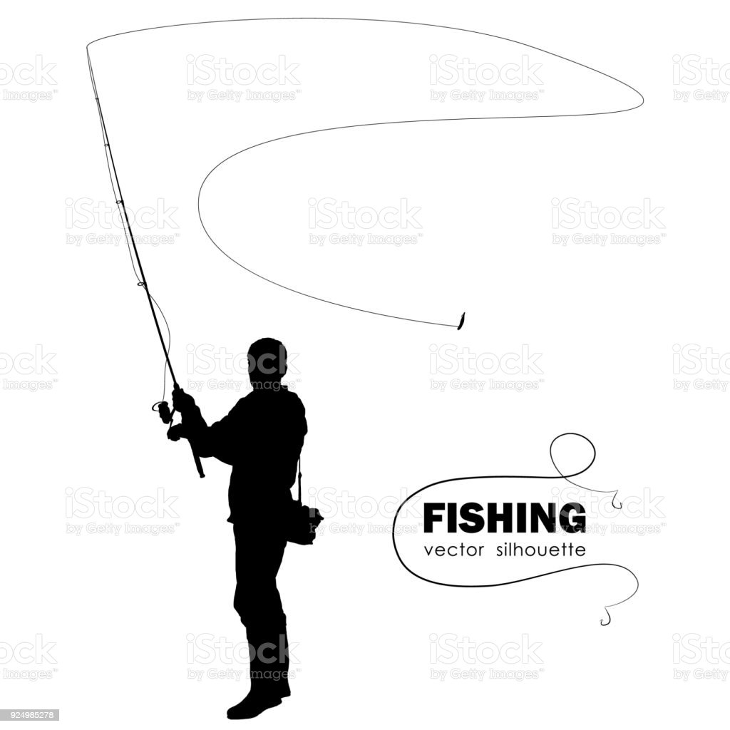 Isolated silhouette of fisherman. Fisher throws spinning vector art illustration