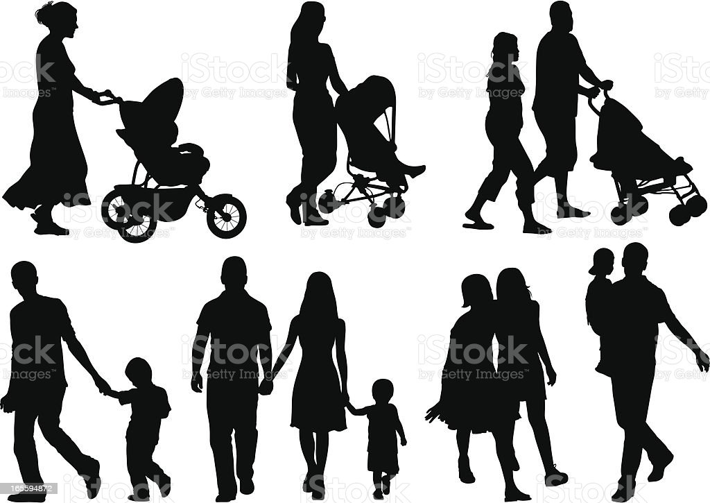Isolated silhouettes of different families vector art illustration