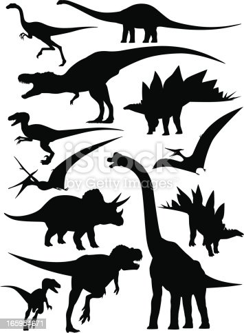 Detailed silhouettes of different species of dinosaurs.