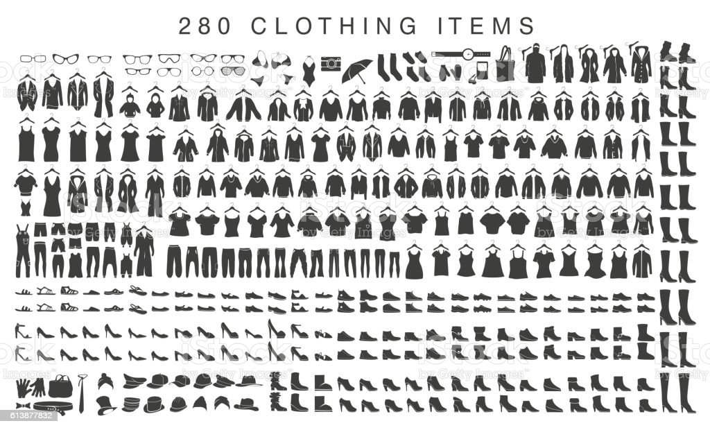 isolated silhouettes of men and women clothing vector art illustration