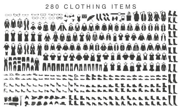 isolated silhouettes of men and women clothing - shoes fashion stock illustrations, clip art, cartoons, & icons