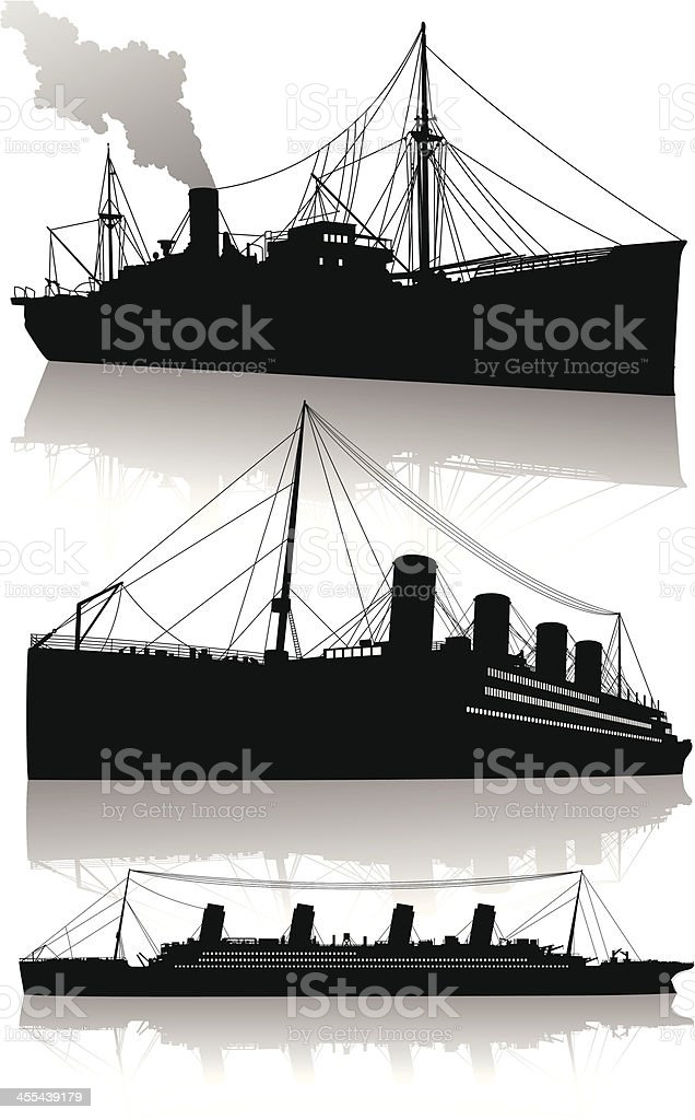Isolated silhouettes of transatlantic passenger steamships vector art illustration