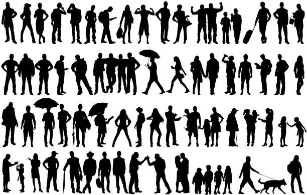 Isolated silhouettes with large Group of people Isolated silhouettes with large Group of people silhouette people stock illustrations