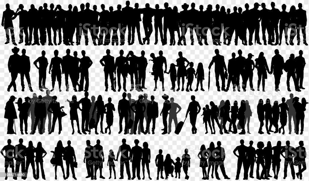 Siluetas aisladas con gran grupo de personas - arte vectorial de Adulto libre de derechos