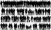 Isolated silhouettes with large Group of peopleIsolated silhouettes with large Group of people