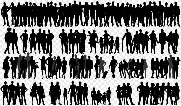 izolowane sylwetki z dużą grupą ludzi - neutralne tło stock illustrations