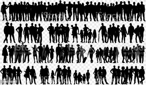 Ilustración de Siluetas Aisladas Con Gran Grupo De Personas y más Vectores Libres de Derechos de Adulto