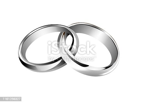 isolated silver interwined wedding rings vector