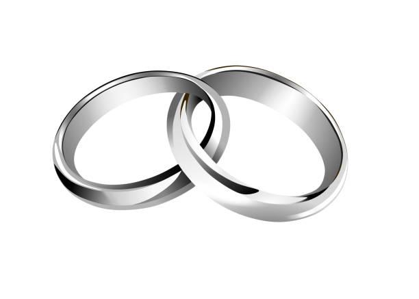 illustrations, cliparts, dessins animés et icônes de anneaux de mariage entrelacés d'argent isolés - bague