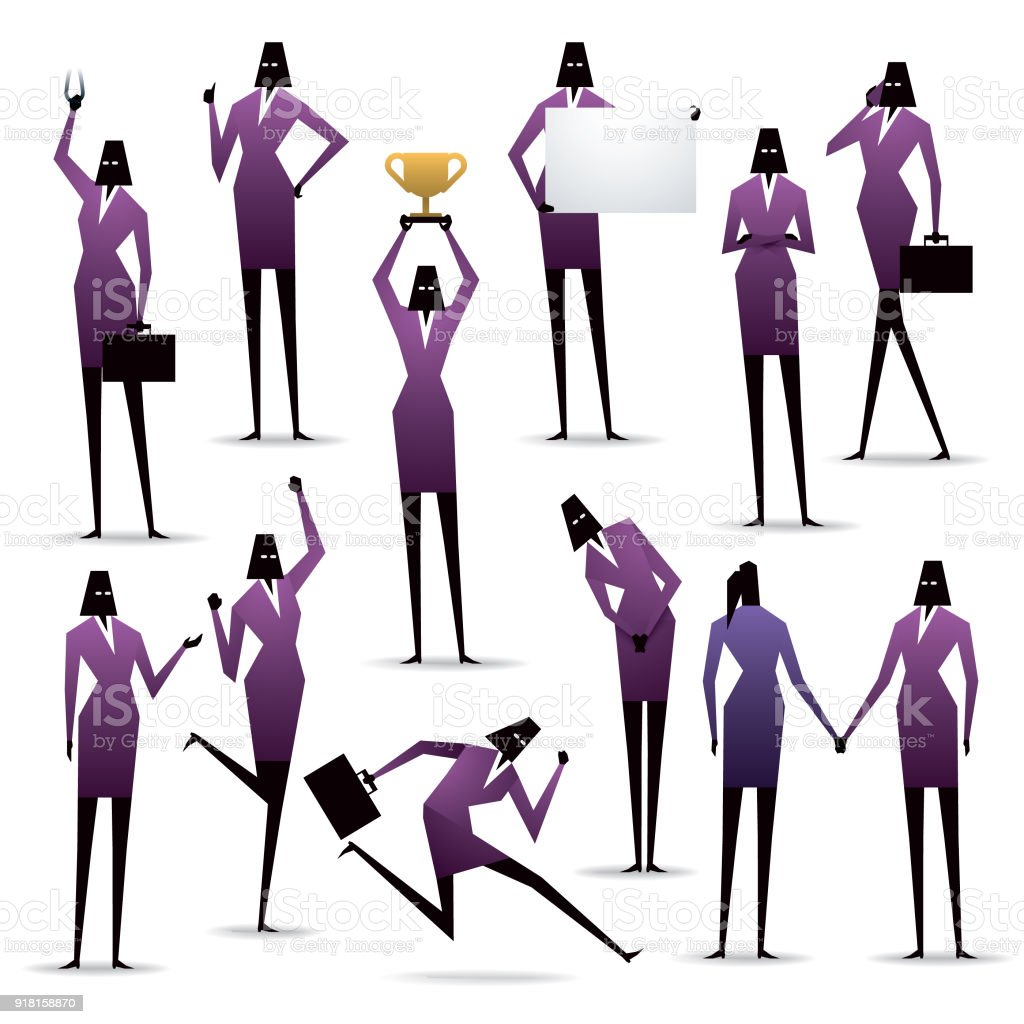 isolated simple geometry businesswomen silhouette icon set with