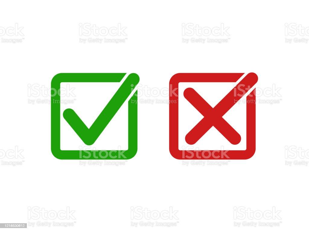 Isoliert Einfache Grün Rechts Und Rot Falsch Oder Tick Und Kreuz ...