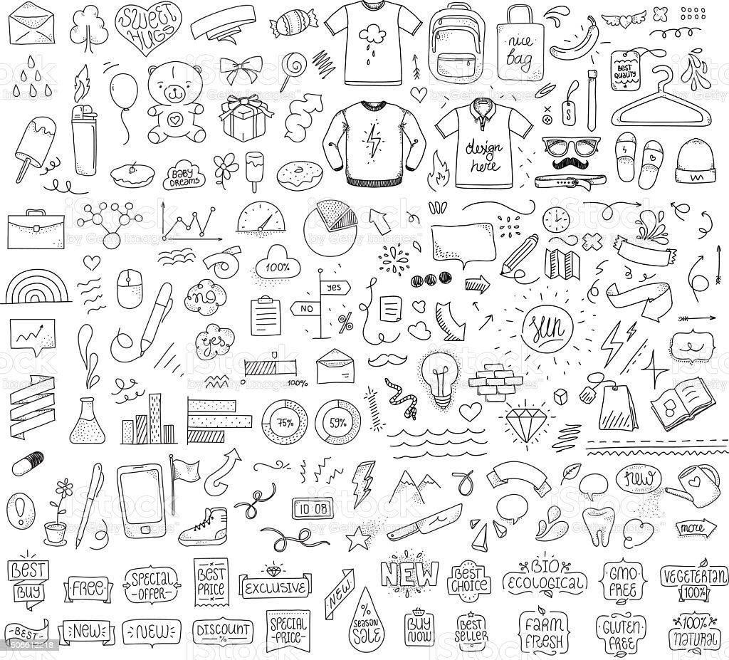 Isolated sketch objects bundle. Mega set of vector doodles. Hand vector art illustration