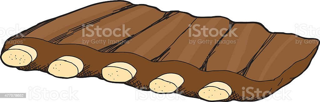 Isolated Slab of Spare Ribs vector art illustration