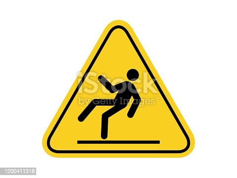 istock isolated slippery surface common hazards symbols on yellow round triangle board warning sign for icon, label, logo or package industry etc. flat style vector design. 1200411318