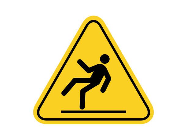 illustrations, cliparts, dessins animés et icônes de symboles communs de dangers de surface glissante d'isolement sur le signe d'avertissement rond jaune de panneau de triangle pour l'icône, l'étiquette, le logo ou l'industrie d'emballage etc. conception plate de vecteur de modèle. - chute