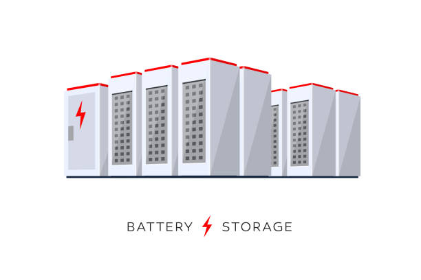 Isolated Smart Battery Cloud Energy Storage System Vector illustration of large rechargeable lithium-ion battery energy storage stationary for renewable electric power station generation. Backup power energy storage cloud system on white background. rechargeable battery stock illustrations