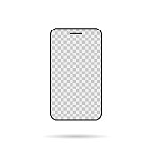 Isolated smartphone mock up. Transparent screen. Empty device.