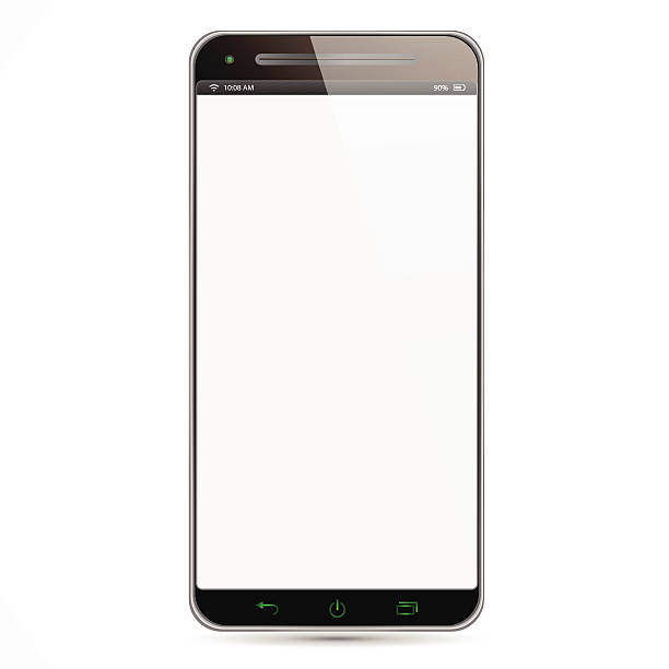 Isolated Smartphone Isolated new Smartphone with white screen and black frame in white background cyborg stock illustrations