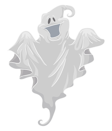 Isolated Smiling Ghost, Floating with a White Fabric