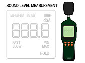 Isolated sound level meter on transparent background. Display screen can be assigned number easily