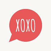 Isolated speech balloon with    the text XOXO