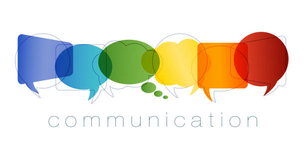 Isolated Speech bubble with rainbow colors. Communication and network concept. Text communication. Online community. Friends chatting. Contacts and online marketing. Vector Possible use for social media communication concept. Chat, dialogue or communication in the workplace or between friends. Interact in the virtual community communication stock illustrations