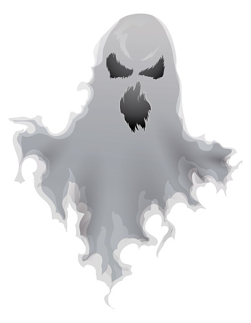 Isolated Spooky Ghost Wearing a Ripped Fabric