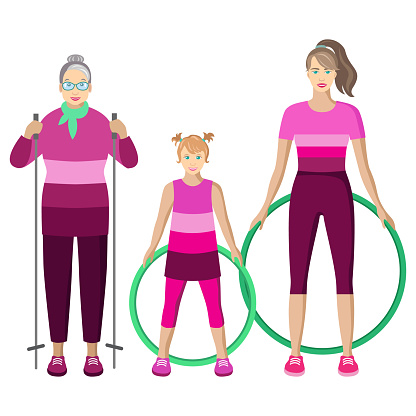 isolated sportive women with nordic walking poles and hoops on white background