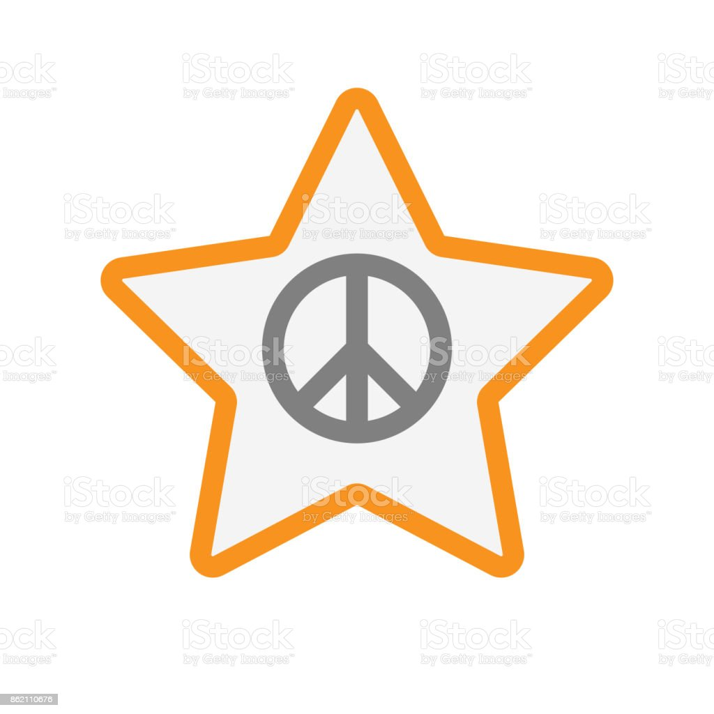 Isolated star with a peace sign vector art illustration
