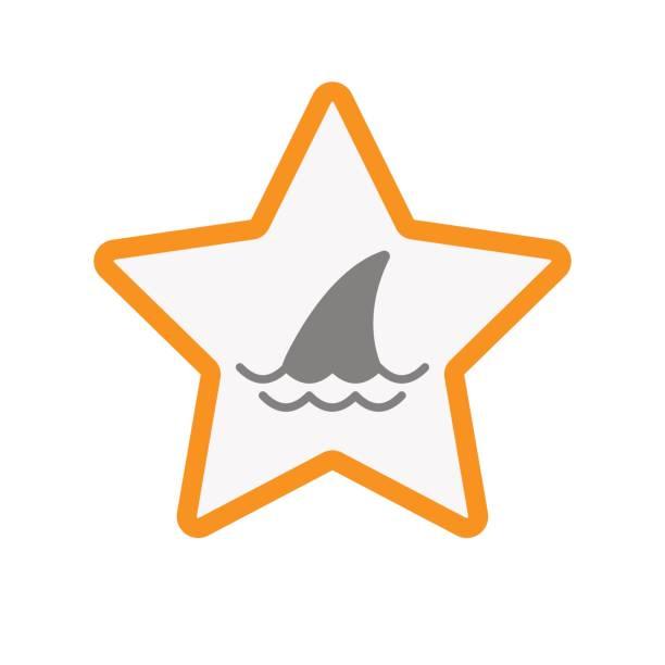 isolierte stern mit einer haifischflosse - haifischköder stock-grafiken, -clipart, -cartoons und -symbole