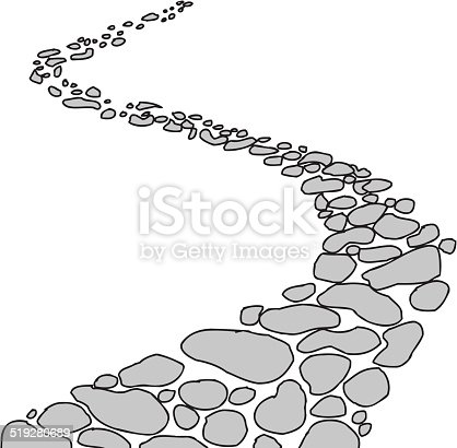 Isolated winding stone path over white background