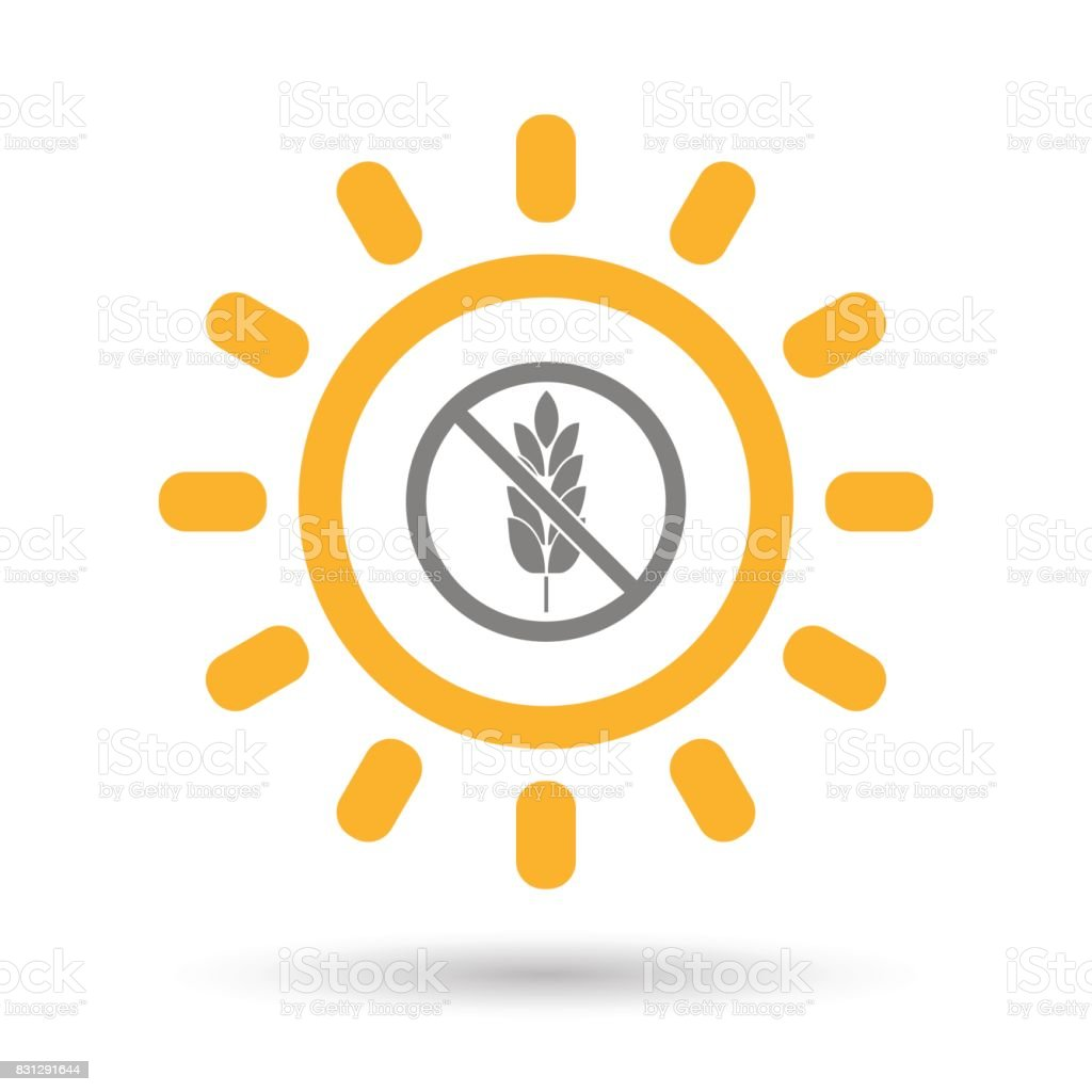 Isolated Sun with  a gluten free sign vector art illustration