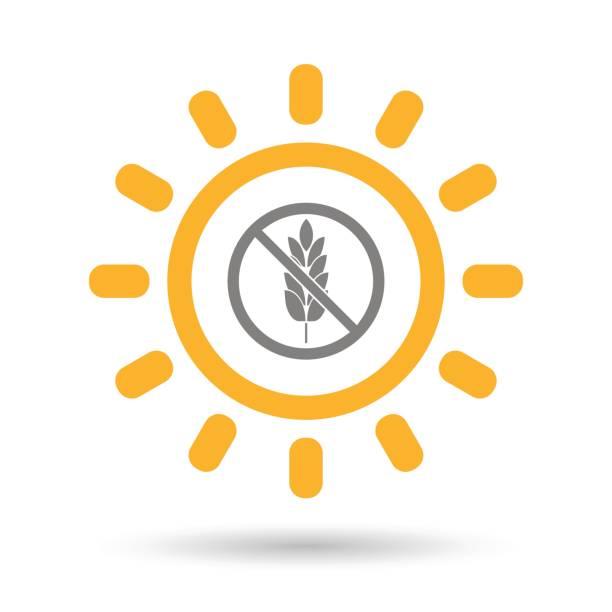 illustrations, cliparts, dessins animés et icônes de soleil isolé avec un signe libre de gluten - sans gluten