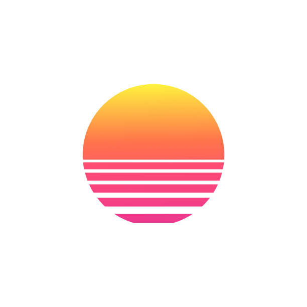 isolated sunset gradient on white background. - zachód słońca stock illustrations