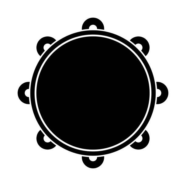 stockillustraties, clipart, cartoons en iconen met geïsoleerde tamboerijn pictogram. muziekinstrument - tamboerijn