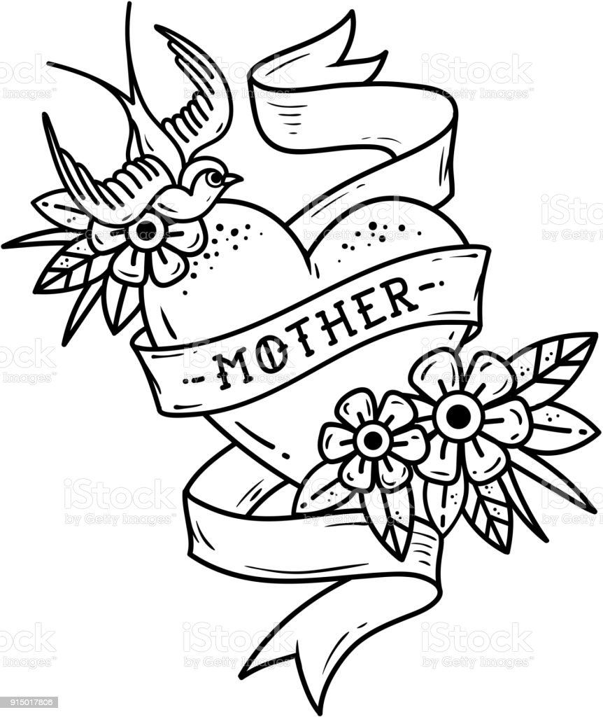 Isolated tattoo heart with ribbon, swallow, flowers and word Mother. Black and white illustration for Mother Day. vector art illustration