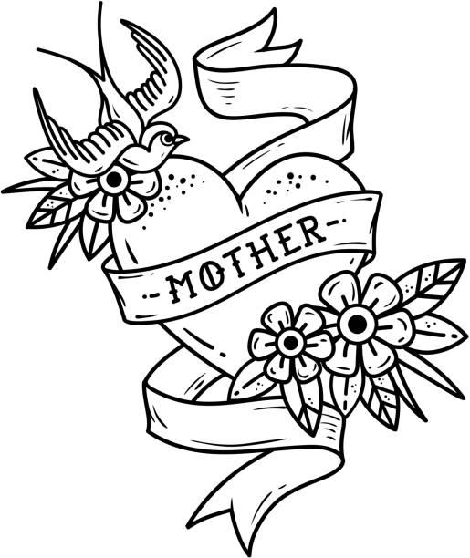 ilustrações de stock, clip art, desenhos animados e ícones de isolated tattoo heart with ribbon, swallow, flowers and word mother. black and white illustration for mother day. - tatuagem