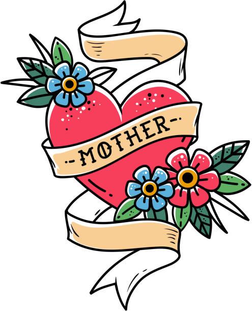 ilustraciones, imágenes clip art, dibujos animados e iconos de stock de corazón aislado del tatuaje rojo con cinta, flores y letras de la madre. la cinta se envuelve alrededor de corazón rojo. vieja escuela - tatuajes de corazones