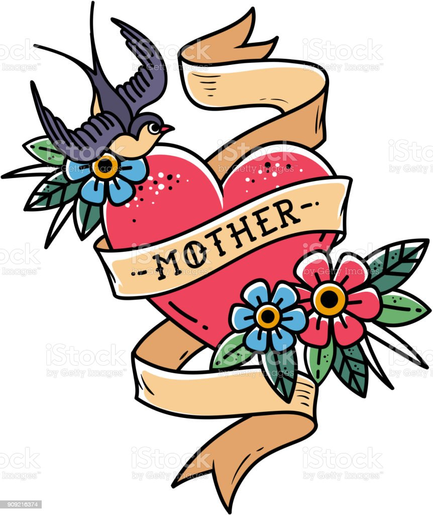 Isolated tattoo red heart with ribbon, swallow, flowers and word Mother. Vector illustration for Mother Day. Old school vector art illustration